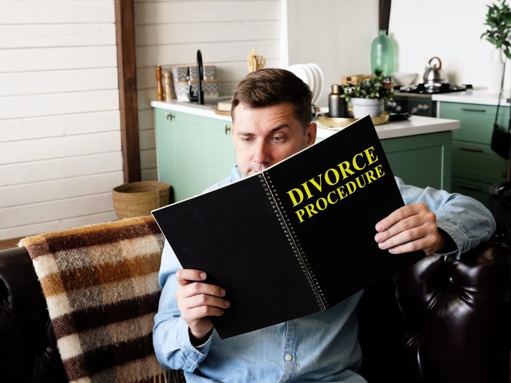 A man reading a law book about divorce.
