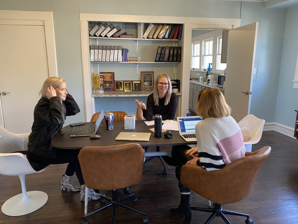 S + L attorney Stephanie Sabelhaus plan case work with staff members